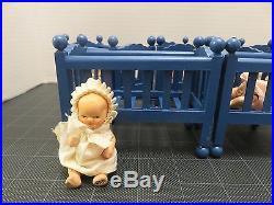 VTG Dionne Quintuplet Bisque Dolls Infant Set 3 Dressed withCribs Japan Jointed