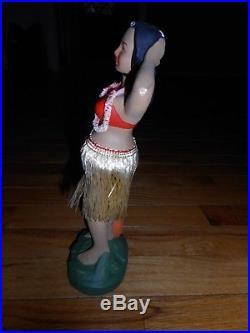 VTG Hakata Hawaiian Hula Girl Bobble Nodder Doll Japan Composite Chalkware 10.5