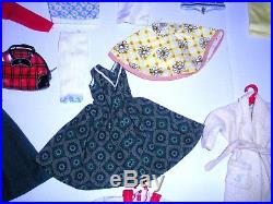 Vintage 1960 Blonde # 3 Ponytail Barbie 850 Doll Case Clothes Lot Japan