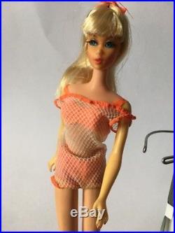 Vintage 1960s Mattel Barbie Blonde TNT Twist N Turn Doll Japan Rooted Lashes