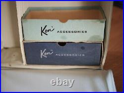 Vintage 1961 Ken Doll #750 with Brunette Flocked Hair in Box withStand and Case