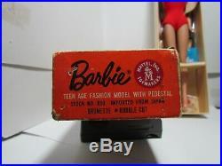 Vintage 1962 brunette bubblecut barbie doll
