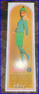 Vintage 1966 Francie Barbie Doll Swimsuit 1130 Bendable Leg Brunette Japan Box