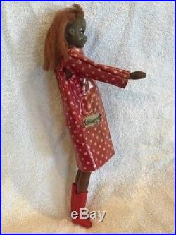 Vintage 1966 Japan Made Black Francie Doll WithPolka Dot N' Raindrops Outfit-Used
