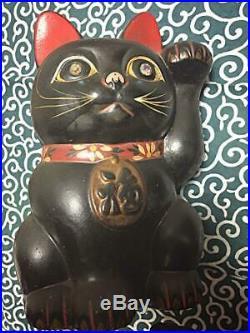 Vintage 1969 Lucky cat Black MANEKINEKO Left hand 23cm figure doll From Japan