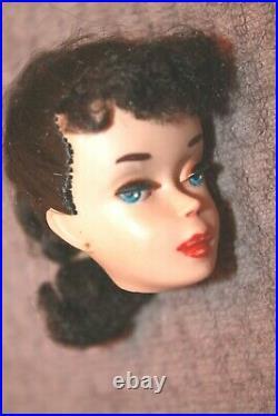 Vintage #3 Brunette FactoryBraid Ponytail Barbie Doll Head withOriginal Face Paint