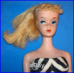Vintage #4 Blonde Ponytail Barbie #850 Heavy Body TM 1960 OSS NICE DOLL