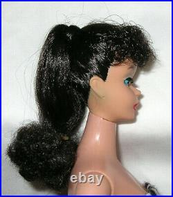 Vintage #5 Stunning Raven Hair Long Ponytail Barbie All Original With Nipples
