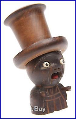 Vintage Antique Japanese Kobe Ningyo Doll Dice Game Black Shaker Japan Old