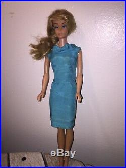 Vintage Barbie Blonde With Barbie In Script Body, Tm Japan On Heel Tagged Dres