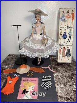 Vintage Barbie Brunette Ponytail #3 All Original Box, Stand, Booklet&Clothes EUC