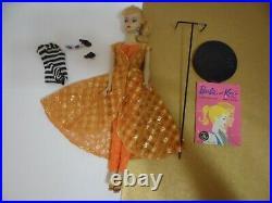 Vintage Barbie Ponytail # 3 Original #850 BLONDE w DINNER AT EIGHT 1960 STAND