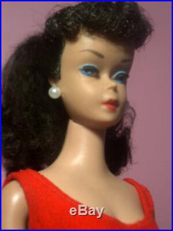 Vintage Barbie Ponytail #6 Model #850 Brunette Beautiful Face OSS Red Mules ExcC