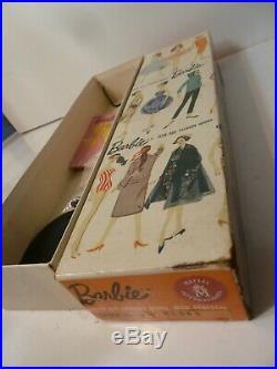 Vintage Barbie ponytail #3 blond original tm box, awning bangs #1 japan heels