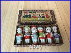 Vintage Bisque / Porcelain Japan set of 6 Figure Dolls with Original box