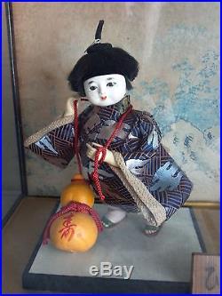 Vintage Collectible Japanese Geisha Girl Kimono Figurine Doll Japan in Glass Box