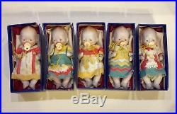 Vintage Darling 1930's Bisque Jointed Dionne Quintuplet 5 Dolls Made in Japan