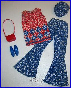 Vintage Francie Doll #1275 Bells Complete Outfit 1967 Blue Shoes Hat Red Purse