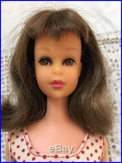 Vintage Francie Doll Japan Straight Leg Brunette All Original With Stand