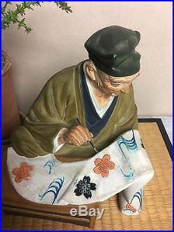 Vintage Hakata Urasaki Painter Artist Doll Figurine With Mat Base Japan Very Rare