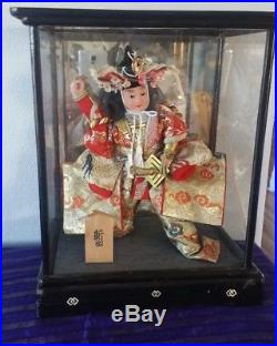 Vintage Japan SAMURAI BOY DOLL in Black Lacquer Glass Case Japanese with Sword