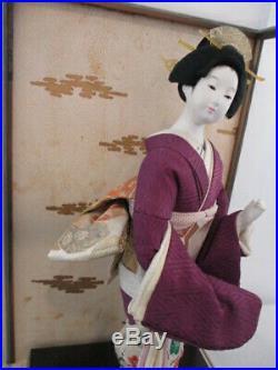 Vintage Japanese Classic Geisha Doll In Original Wood/glass Case Japan