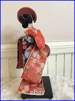 Vintage Japanese Doll Red Silk Elaborate Kimono Gofun Glass Eyes & Human Hair