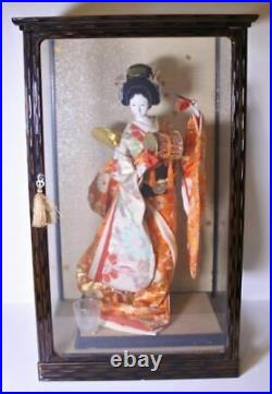 Vintage Japanese Geisha doll Kimono in glass case Antique BEAUTIFUL Orange