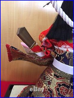 Vintage Japanese Kimono Hina doll Asian kabuto helmet katana Nishiki NM Japan