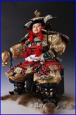 Vintage Japanese Samurai Doll -Shogun style- with Rabbit Fur