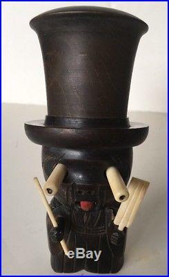 Vintage Japanese Wood Kobe Ningyo Doll Dice Game Black Shaker Japan