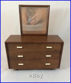 Vintage Mattel Barbie Furniture Wood Mid Century Dresser Bed Mirror 1950s Japan