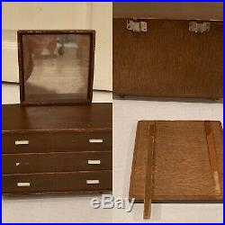 Vintage Mattel Modern Wooden Doll Furniture Bed Table Chairs Couch (some TLC)