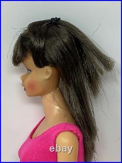 Vintage Mattel Standard Body Pink Skin Barbie Doll #1190 Dark BRUNETTE & Bikini