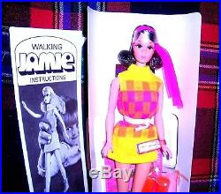 Vintage Mod 1970 SEARS Brunette Walking Jamie Barbie 1132 Japan TNT Era MIB Mint