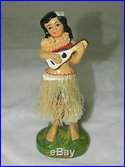 Vintage OLD JAPAN Hawaiian Hula bobble nodder girl doll figurine made in Japan