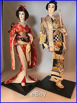 Vintage Pair Hand Made Silk Japanese Samuri Warrior & Geisha 18 Dolls Wood Base
