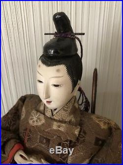 Vintage Pair Of Asian Japanese Hina Dolls Warrior Geisha Signed With Headdress