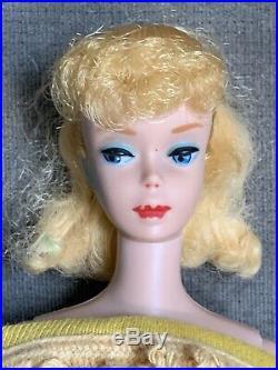 Vintage Ponytail BARBIE #5 Doll Blonde Blue Eyes Japan Gold Knit Sheath Dress