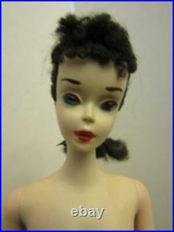 Vintage Pretty Number 3 #3 Brunette Barbie Doll In Swimsuit With #1 Black Shoes