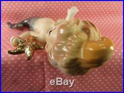 Vintage Rare Doll Like Mermaid Wall Plaque Set Holding Gold Starfish Japan