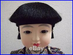 Vintage Unused 42cm(16.5'')Tall ICHIMATSU Boy/Kabuto ningyo from Japan/W-box
