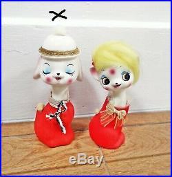 Vintage ceramic kitsch big eye kitty Yellow hair cat japan doll