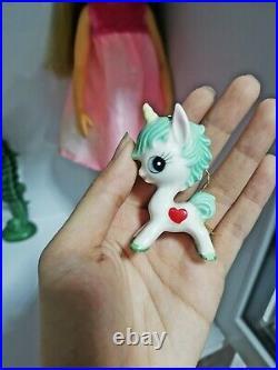 Vintage ceramic kitsch kawaii big eye green unicorn japan doll