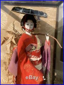 Vintage japanese doll kimono Geisha beautiful Figure Kyoto Japan antique Red