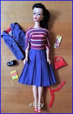 Vntg Barbie #5 Brunette Ponytail Braid Doll #4 TM Body withABOARD SHIP+ LOVELY