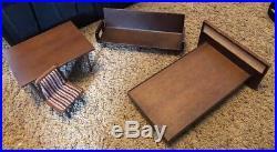 Vtg 50s Mattel MID CENTURY MODERN Wood TABLE Bed Japan MCM barbie doll furniture
