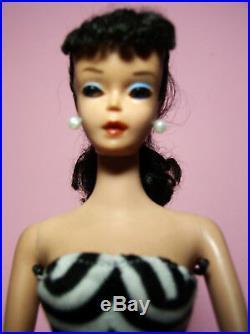 Vtg Beautiful Barbie TM Ponytail #4 Model #850 Brunette OSS Black Mules Stand